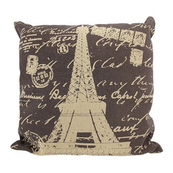 Zeckos - Brown / Tan Canvas French Postcard Eiffel Tower Theme Throw Pillow 16 Inch - This throw pillow is a wonderful accent for anyone who loves all things French It features a postcard style Eiffel Tower theme on the front, in tan, against a brown canvas cover. The pillow measures 16 inches by 16 inches, and has a zipper on the back of the cover so you can remove and wash it. The pillow insert is 100% polyester. It looks lovely on beds, chairs, and couches anywhere in your home, and makes a great gift for a friend.