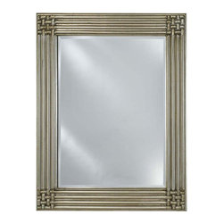 Afina - Estate Decorative Beveled Wall Mirror (Small) - Choose Size: Small. Rectangular shape. Can be hung vertically or horizontally. 1 in. frame thickness. Clean with mild soap and water. Distinctive wood frame. Warranty: One year. Antique silver finish. Molding width: 4 in.. Small: 28 in. W x 34 in. H. Medium: 34 in. W x 42 in. H. Large: 40 in. W x 51 in. H