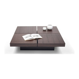 Temahome - Temahome Kyoto 4 Tops Coffee Table, Pure-White, Closed - A four-squared coffee table with low profile and optional storage