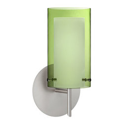 Besa Lighting - Pahu Satin Nickel One-Light Halogen Wall Sconce with Transparent Olive and Opal - - The Trans-Olive colored blown glass complements the soft white Opal cased glass, which can suit any classic or modern decor. Opal has a very tranquil glow that is pleasing in appearance, as the Trans-Olive glass sparkles with the accents from that glow. The smooth satin finish on the opal?s outer layer is a result of an extensive etching process. This blown glass combination is handcrafted by a skilled artisan, utilizing century-old techniques passed down from generation to generation.  - Bulbs Included  - Shade Ht (In): 7  - Shade Wd/Dia (In): 4  - Canopy/Fitter Ht (In): 5  - Canopy/Fitter Dia/Wd (In): 5  - Title XXIV compliant  - Primary Metal Composition: Steel  - Shade Material: Glass  - NOTICE: Due to the artistic nature of art glass, each piece is uniquely beautiful and may all differ slightly if ordering in multiples. Some glass decors may have a different appearance when illuminated. Many of our glasses are handmade and will have variances in their decors. Color, patterning, air bubbles and vibrancy of the d�cor may also appear differently when the fixture is lit and unlit. Besa Lighting - 1SW-L44007-SN