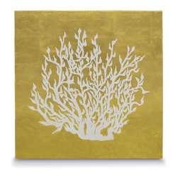 Palecek - Sea Fan Leaf Coral Wall Decor - Gold leafing over a canvas backing with hand-stenciled coral pattern. Some imperfections can be expected as actual pieces of gold leaves are hand-applied on each panel. Metal hardware on top back for hanging.
