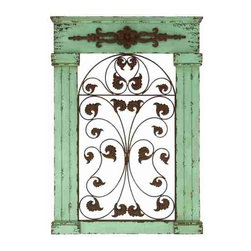 UMA - Vintage Passage Wooden Wall Panel - An outer frame of green features distressed style and antique design around central elegant scrolling's.