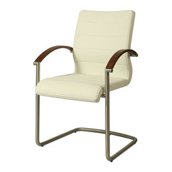 Pastel Furniture - Pastel Furniture Akasha Side Chair X-879-AW-SS-711-KA - The Akasha side chair with arm rest reflects a clean and fresh design. With simple lines mixed with curves for comfort, this beautiful chair adds style and elegance to the dining experience. This chair is upholstered in Pu Ivory with an arm rest that is finished in either wenge veneer or walnut veneer.