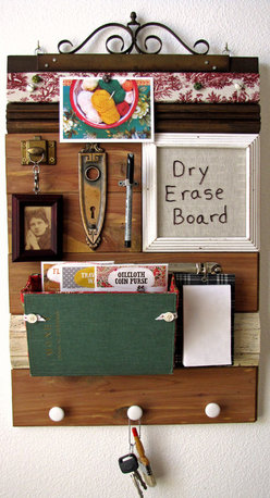 """Mail Organizers - This mail organizer will bring your space French Country style and end all your clutter problems. It measures 16""""w x 24""""h x 3""""d. From top to bottom this piece has a fabric covered cork board, a small hanging frame, a dry erase board, a mail organizer, a notepad and three white enamel knobs."""