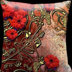 Lama Kasso - Como Gardens Muted Red Colors with Antique Gold Scrolls and Red Daisies 18 x 18 - -Satin Lama Kasso - 110