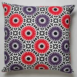 Winter Garden Cushion - Suki Cheema - Evoking Moroccan tiles, Suki Cheema's Winter Garden cushion is a stand-out. The pattern is hand printed on heavy cotton canvas and embroidered details make the flowers pop.