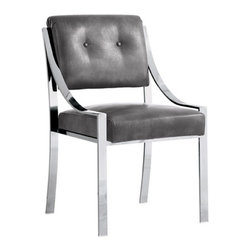Stylish Dining Chair in Leather, Grey Nobility - Stylish Dining Chair in Leather