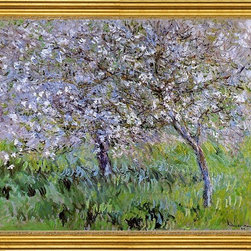 """Claude Oscar Monet-16""""x20"""" Framed Canvas - 16"""" x 20"""" Claude Oscar Monet Apple Trees in Bloom at Giverny framed premium canvas print reproduced to meet museum quality standards. Our museum quality canvas prints are produced using high-precision print technology for a more accurate reproduction printed on high quality canvas with fade-resistant, archival inks. Our progressive business model allows us to offer works of art to you at the best wholesale pricing, significantly less than art gallery prices, affordable to all. This artwork is hand stretched onto wooden stretcher bars, then mounted into our 3"""" wide gold finish frame with black panel by one of our expert framers. Our framed canvas print comes with hardware, ready to hang on your wall.  We present a comprehensive collection of exceptional canvas art reproductions by Claude Oscar Monet."""