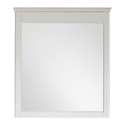 """Lamps Plus - Country - Cottage Avanity Windsor 24"""" Wide White Wall Mirror - Windsor 30"""" Wide White Wall Mirror Solid poplar wood frame wall mirror. White finish frame and simple lines. Beveled mirror glass. Easy hanging with cleat on back. Includes mounting hardware. Vertical hang only. 24"""" wide. 34"""" high. 2"""" deep.  Solid poplar wood frame wall mirror.  White finish frame and simple lines.  Beveled mirror glass.  Easy hanging with cleat on back.  Includes mounting hardware.  Vertical hang only.  24"""" wide.  34"""" high.  2"""" deep."""