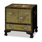 China Furniture and Arts - Gold Leaf Lamp Table - Asian influences transform a room with quiet beauty and golden serenity. Hand-painted traditional Chinese flower and bird on the gold leaf background through out the cabinet. Two doors and one felt-lined drawer at the bottom provide convenient storage space. Artistic and practical fused in one for our contemporary living.
