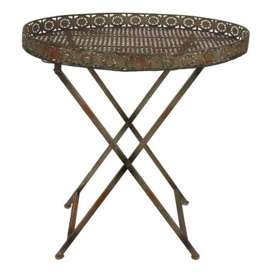 Oriental Furniture - Decorative Rustic Garden Tea Table - As easy to set up as it is to fold together for storage, this collapsible table is a fashionable place to set your tea. Its weathered, antique appearance and a vintage design will bring a stylish vintage feel to the modern home.
