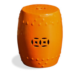 China Furniture and Arts - Porcelain Garden Stool - Orange - With simple silhouette, this porcelain garden stool is modeled after the traditional Chinese drum. The center design takes its shape from an ancient coin. Hand-glazed in vibrant orange. Great for indoor and outdoor use and easily complements any setting.