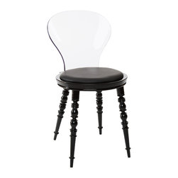 American Atelier - Wynona Modern Chair, Black Chair with Clear Back - Enjoy this modern designed chair from American Atelier Living by Jay. This contemporary chair is made of polycarbonate legs and backrest, with a polypropylene seat and a polyurethane cushion.
