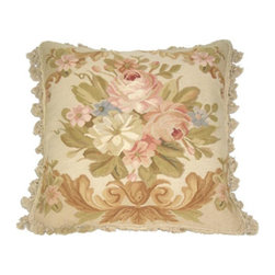 Metrohouse Designs - French Country Shabby Chic Floral Aubusson Pillow - French Country Floral Aubusson Pillow