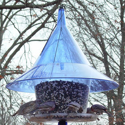 Arundale - Sky Cafe Blue - Huge 1 1/2 gallon easy to fill hopper style feeder with large 17 inch squirrel proof blue dome. Made from strong 100% plexiglas.