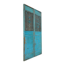 Golden Lotus - Pair Chinese Antique Tall Blue Flower Carving Screen Panel - This is a Chinese antique screen panel which is made of solid elm wood.  It comes with blue color and flower carving on it.  It was original used as door panel long time ago in China.  Right now, you can use it as screen wall panel.