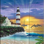 The Tile Mural Store (USA) - Tile Mural - Dolphin Lighthouse - Kitchen Backsplash Ideas - This beautiful artwork by Jeff Wilkie has been digitally reproduced for tiles and depicts a lighthouse near sunset.  Our lighthouse tile murals and nautical themed decorative tiles are perfect as part of your kitchen backsplash tile project or your tub and shower surround bathroom tile project. Lighthouse images on tiles add a unique element to your tiling project and are a great kitchen backsplash idea. Use a lighthouse scene tile mural for a wall tile project in any room in your home where you want to add interest to a plain field of wall tile.