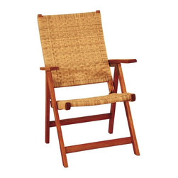 """Lamps Plus - Transitional Eucalyptus Woven Seat Outdoor Folding Chair - This folding arm chair is a cozy piece of outdoor furniture a comfortable perch for enjoying your outdoor spaces. This eco-friendly design is crafted using harvested eucalyptus grandis presented in a natural oiled finish. Woven seat and back add to the comfort. Each chair is unique due to the natural grain of the wood. Eucalyptus wood construction. Natural oiled finish. Poly weave seat and back. Folds for easy storage. Fully assembled. 38"""" high. 24"""" wide. 27"""" deep.  Eucalyptus wood construction.   Natural oiled finish.   Poly weave seat and back.   Folds for easy storage.   Fully assembled.   38"""" high.   24"""" wide.   27"""" deep."""