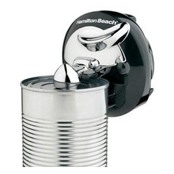 Hamilton Beach - Compact Can Opener Black - This Walk 'n Cut space-saving can opener from Hamilton Beach is cordless Stainless Steel and portable and opens any size can. It plugs in for easy recharging overnight. It cuts around the lid all by itself then stops and shuts off automatically. A removable cutting lever makes cleanup easy. Stores in a drawer to save countertop space. It fits in your hand and is small enough to go anywhere. Black and Chrome.