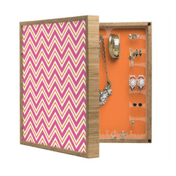 DENY Designs - Caroline Okun Berry Pop Chevron BlingBox Petite - Handcrafted from 100% sustainable, eco-friendly flat grain Amber Bamboo, DENY Designs BlingBox Petite measures approximately 15 x 15 x 3 and has an exterior matte cover showcasing the artwork of your choice, with a coordinating matte color on the interior. Additionally, the BlingBox Petite includes interior built-in clear, acrylic hooks that hold over 120 pieces of jewelry! Doubling as both art and an organized hanging jewelry box, It's bound to be the most functional (and most talked about) piece of wall art in your home! Custom made in the USA for every order.