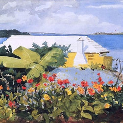 "Winslow Homer A Flower Garden and Bungalow, Bermuda   Print - 16"" x 24"" Winslow Homer A Flower Garden and Bungalow, Bermuda premium archival print reproduced to meet museum quality standards. Our museum quality archival prints are produced using high-precision print technology for a more accurate reproduction printed on high quality, heavyweight matte presentation paper with fade-resistant, archival inks. Our progressive business model allows us to offer works of art to you at the best wholesale pricing, significantly less than art gallery prices, affordable to all. This line of artwork is produced with extra white border space (if you choose to have it framed, for your framer to work with to frame properly or utilize a larger mat and/or frame).  We present a comprehensive collection of exceptional art reproductions byWinslow Homer."