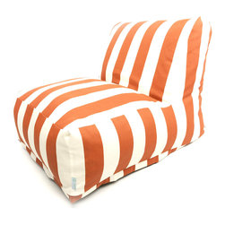Majestic Home - Outdoor Burnt Orange Vertical Stripe Bean Bag Chair Lounger - Add style and functionality to your living room, family room or outdoor patio with the Majestic Home Goods Bean Bag Chair Lounger. This Beanbag Chair has the design of modern furniture, while still giving the comfort of a classic bean bag. Woven from outdoor treated polyester, these loungers have up to 1000 hours of U.V. protection and are able to withstand all of natures elements. The beanbag inserts are eco-friendly by using up to 50% recycled polystyrene beads, and the removable zippered slipcovers are conveniently machine-washable.