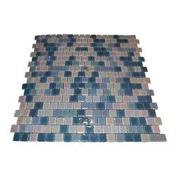 Sky Blue Blend Glass Tile Iridecent Stack Pattern, Box - Sheet size: 12 x12