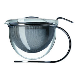 Mono - Filio Collection Teapot - 50 oz., Chrome - There may be no finer way to brew top-quality teas than with this handsomely crafted Filio Collection Teapot. Featuring a graceful suspended glass bowl and wide infuser for maximum tea leaf absorption and aroma, it's just the answer for serving high tea in absolute style.