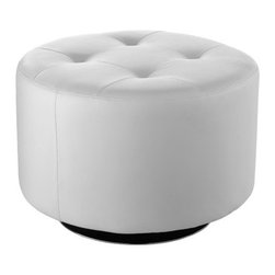 """Sunpan Modern - Domani Swivel Ottoman - Features: -Material: Faux leather.-Amazingly priced round swivel ottoman features a tufted top.-Finish: Chrome.-Please note that although every attempt has been made to ensure accuracy, all dimensions are approximate and colors may vary.-Style: Transitional.-Pattern: Solid.-Distressed: No.-Upholstery Material: Faux leather.-Frame Material: Wood.-Solid Wood Construction: No.-Number of Items Included: 1.-Non-Toxic: Yes.-Fire Resistant: Yes.-Scratch Resistant: No.-Stain Resistant: Yes.-Water Resistant: No.-Shape: Round.-Cushion or Upholstery Fill Material: Foam.-Foam Density: 2.1.-Seating Comfort: Firm.-Coils or Springs: No.-Removable Cushion: No.-Removable Upholstery Cover: No.-Tufted Cushion: Yes.-Welt On Cushions: No.-Slipcovered: No.-Skirted: No.-Pouf: No.-Legs Included: No.-Casters: No.-Glider: No.-Nailhead Trim: No.-Tray Top: No.-Storage Available: No-Storage Shelves: No..-Nested Stools: No.-Collapsible: No.-Pull Out Bed: No.-Suitable As Seating: Yes.-Outdoor Use: No.-Swatch Available: Yes.-Commercial Use: No.-Recycled Content: No.-Product Care: Wipe clean.Dimensions: -Overall Height - Top to Bottom: 17.25"""".-Overall Width - Side to Side: 25.75"""".-Overall Depth - Front to Back: 25.75"""".-Shelving: No.-Drawers: No.-Legs: No.-Storage: No.-Overall Product Weight: 29 lbs.Assembly: -Assembly Required: No."""