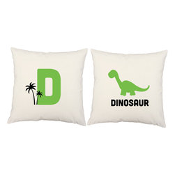 RoomCraft - D for Dinosaur Throw Pillow Covers 16x16 White Dino Shams - FEATURES: