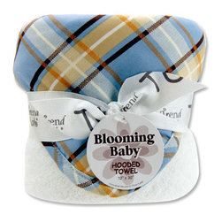 """Trend Lab - Bouquet Hooded Towel - Rockstar - Trend Lab's Rockstar Hooded Towel will keep your baby warm and dry after bath time. The white terry towel features a cotton percale plaid print throughout the hood and trim in dusk blue, desert sand, chocolate brown and burnt orange. Hooded towel measures 32"""" x 30""""."""