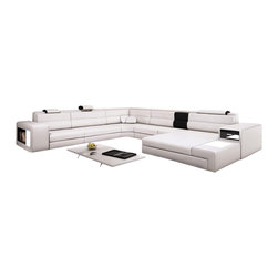 VIG Furniture - Polaris - Contemporary White Leather Sectional Sofa - Polaris sectional set with two decorative lights, side drawer and a shelf. It is usually available in stock in Orange, Black, White and Grey colors. Other variations can also be ordered upon special request.