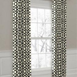 "Custom Black and White Geometric Ring Top Drapery Panel - Loom Decor custom Ring Top Drapery Panel in ""Sultan Pepper"" (black) fabric."