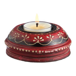 Everybody's Ayurveda - Wooden Hand Painted T-lite Holder in Adoosa Wood - Red - Red Wooden Embossed Painted Tealight Holder. Adoosa Wood. Package Includes: T-lite Holder Only. Dimensions: Width: 3.5 inch. Height: 1.25 inch.