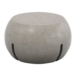 "Hearth - Outdoor hub, ottoman, side table - The hub is the hardest-working piece in the collection. It serves as an ottoman, a side table and cable manager. Multiple pieces can plug into the hub to minimizes outlets required. The hub is 15"" tall and 26"" wide."