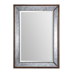 Uttermost - Uttermost 14487 Daria Antique Beveled Framed w/ Pecan Stained Wood Mirror - Antiqued, Beveled Mirror Finish