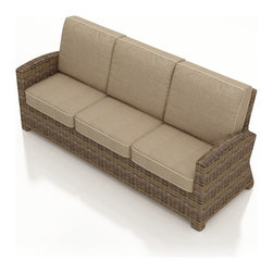 6 Pc. Cypress Outdoor Sofa Set by Forever Patio - The 6 Piece Cypress Sofa Set by Forever Patio (FP-CYP-6SS-HR) provides ample seating space, coupled with a wonderful blend of traditional-style wicker and modern frame design. The set seats up to 6 adults comfortably, and includes a sofa, a loveseat, a club chair, an ottoman, a coffee table and end table with a glass top. This set features Heather wicker with a half round design that creates a complex and luxurious look. Every strand of this wicker is made from High-Density Polyethylene (HDPE) and is infused with its natural color and UV-inhibitors that prevent cracking, chipping and fading ordinarily caused by sunlight. The set is supported by thick-gauged, powder-coated aluminum frames that make it extremely durable and resistant to corrosion. Also included are cushions covered in fade- and mildew-resistant Sunbrella® fabric, available in a wide selection of colors. The plush cushions combined with the large seating area of the collection create an incredibly comfortable outdoor seating arrangement.
