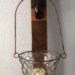 French oak wine stave candle sconces - full size stave - P. Taylor