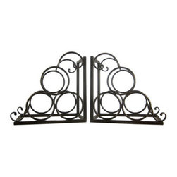 Pair Of Metal Wine Bottle Holder Bookends Book Ends Rack - This beautiful pair of metal bookends is the perfect accent for wine lovers. Each of the bookends holds 3 bottles of wine(not included), so you`ll always have a bottle at the ready. They have a metallic bronzed enamel finish, for an air of elegance. Measuring 11 inches tall, 6 1/4 inches deep, and 10 1/2 inches wide, they add class and style to any bookshelf or table. This pair also makes a great present for the holidays or for housewarming gifts.
