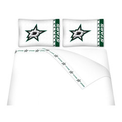 Sports Coverage - Sports Coverage NHL Dallas Stars Microfiber Hem Sheet Set - Twin - NHL Dallas Stars Microfiber Hem Sheet Set have an ultrafine peach weave that is softer and more comfortable than cotton. Its brushed silk-like embrace provides good insulation and warmth, yet is breathable.   The 100% polyester microfiber is wrinkle-resistant, washes beautifully, and dries quickly with never any shrinkage. The pillowcase has a white on white print beneath the officially licensed team name and logo printed in vibrant team colors, complimenting the new printed hems.    Features: -  Weight of fabric - 92GSM ,  - Soothing texture and 11 pocket,  -  100% Polyester,  - Machine wash in cold water with light colors,  - Use gentle cycle and no bleach ,  - Tumble-dry,  - Do not iron ,