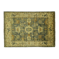 Manhattan Rugs - New Antiqued Blue & Ivory Oushak 10x14 Hand Knotted Turkish Wool Area Rug H3518 - Oushak rugs originated in the small town of Oushak in west central Anatolia, roughly 100 miles south of the city of Istanbul in Turkey. Oushak has produced some of the most decorative Persian influenced rugs of all times. Oushak has been a production center of Turkish rugs since the 15th century. In the late 15th century the 'design revolution' took place. Before, producing carpets was part of the nomad culture, meeting people's daily needs, but for the first time the works of designing and weaving rugs were split in two. These Turkish rugs began to be produced commercially. From the 16th up to the 18th century the most famous manufacturers of ottoman times worked in Oushak. A special heirloom wash produces the subtle color variations that give rugs their distinctive antique look.
