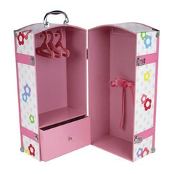 Sophia's 18-Inch Doll Trunk & 3 Hangers - This cute pink doll trunk is decorated with colorful polka dots and flowers. It holds dolls up to 18 inches tall, as well as all the accessories. Plus, the handle makes it easy to transport.