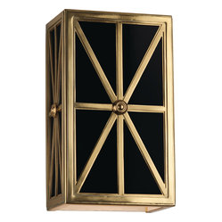 Directoire Wall Sconce, Brass/Black Glass