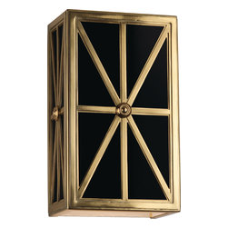 Robert Abbey - Directoire Wall Sconce, Brass/Black Glass - Make a royal entrance every time you walk through your door. These neoclassical wall sconces bring vintage glamour to your entryway. The frosted glass emphasizes the elegant metal frame that forms into a stunning pattern.