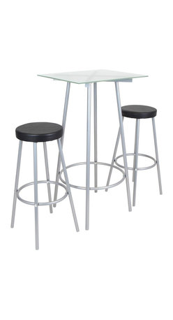 LUMISOURCE - Lumisource Perka Bar Set, Silver - This contemporary three-piece set includes a glamorous glass top bar table and two bar stools with sturdy metal legs and footrests. Ideal for entertaining and everyday use, add this multi-functional set to your home today!
