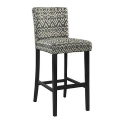 Linon - Morocco Bar Stool Driftwood - Driftwood Ikat Styled Fabric Upholstery. Some Assembly Required. Weight Limit: 275 lbs. 17.72 in. W x 23.03 in. D x 43.31 in. H (25.35 lbs)The Driftwood Morocco Stool is a trendy, new-age seating solution for a counter, bar or table. The stool has a modern Ikat design that is perfect for adding a splash of pattern and eye-catching style to your space. The straight lined, smooth legs are finished in a dark black.