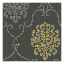 Decorline - Accent Damask Wallpaper - A contemporary twist on a classic, this mod damask design wallpaper treats your walls to enticing and fresh texture effects. Sophisticated battleship grey is invigorated with silver and chartreuse. Each wallpaper bolt is 20.5 inches wide and 33 feet long, covering about 56 square feet. The pattern has a 25.2 inch repeat and a Straight match.