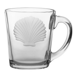 Rolf Glass - Seashell Clear Coffee Mug 13.5oz, Set of 4 - Once you start serving your guests their morning coffee in these crystal-clear glass mugs, you'll never go back to your old ceramic mugs again.