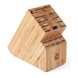 Cook N Home - Cook N Home Bamboo Knife Storage Block 19-slot - Give your favorite knife set a showplace that also serves to protect the blades from harm with this burnished bamboo knife block. The block has room for 19 knives, allowing you to store a full set of both cooking and eating implements with ease.