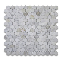 Calacatta Gold 3 inch Hexagon Mosaic Tile Tumbled - Marble from Italy - Premium Grade Calacatta Marble Italian Calcutta Gold Tumbled 3 inch Hex Mosaic Wall & Floor Tiles are perfect for any interior/exterior projects such as kitchen backsplash, bathroom flooring, shower surround, countertop, dining room, entryway, corridor, balcony, spa, pool, fountain, etc. Our large selection of coordinating products is available and includes brick, herringbone, basketweave mosaics, 12x12, 18x18, 24x24, subway tiles, moldings, borders, and more.